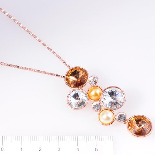 Колие МАДИ с Многоцветни Austrian crystals и 18К Розово злато, UB Unique Boutique #UB N044