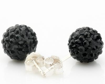 925SB S05092-E Колие и обици на винт Шамбала, черни кристали!