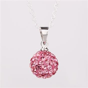 925SB P03001 Колие Шамбала, розови кристали!