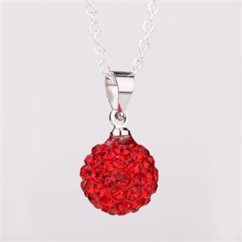 925SB P02098 Колие Шамбала, червени кристали!