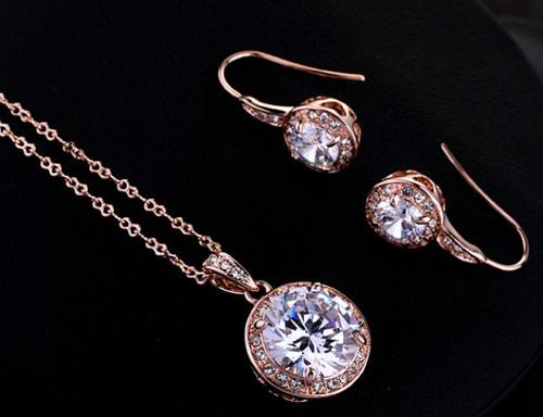 ZG S812 Бижута ПРИНЦЕС Swarovski Elements, колекция Zerga, колие, обеци и пръстен, 18К розово златно покритие