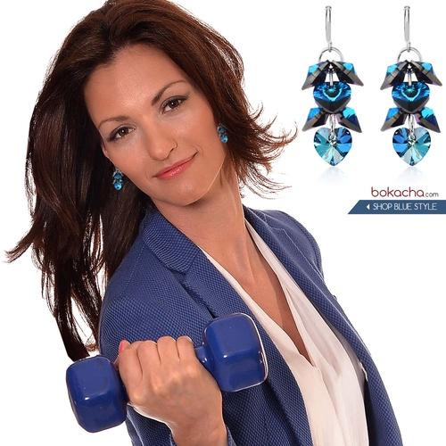 Бижута SWAROVSKI® ROMANCE HEART Bermuda Blue BBL, Син, Колие и обеци 10 мм, Код PR S098