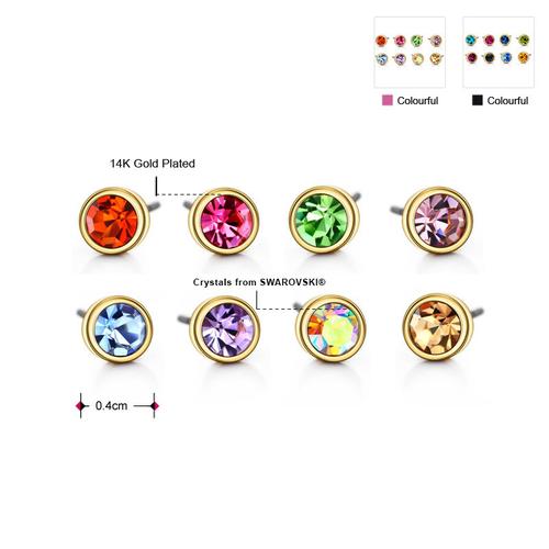 Обеци SWAROVSKI® STRING OF COLOURS 4мм, Разноцветни, Код PR E200