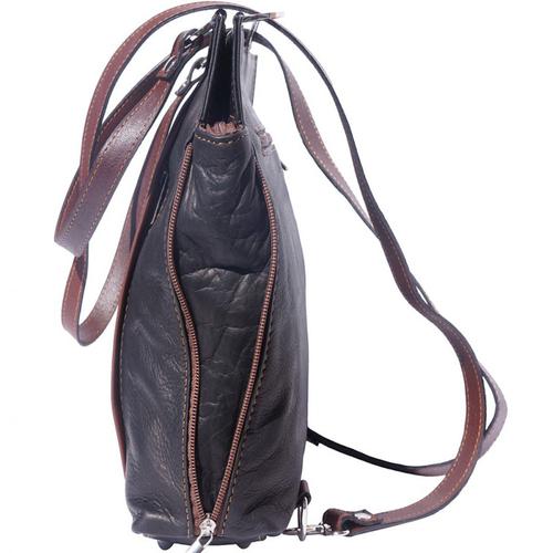 Чанта Естествена Кожа КАПАЧОЛИ, FLORENCE, черен/кафяв цвят, Код FLB0173