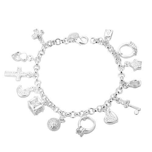 925 H16444 Дамска гривна с много висулки, сребърно покритие и печат 925!