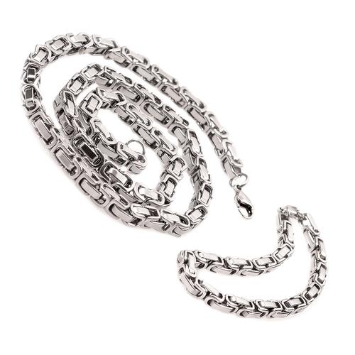 Ланец и гривна от стомана ЮПИТЕР СИЛВЪР 5mm, код 316L S025