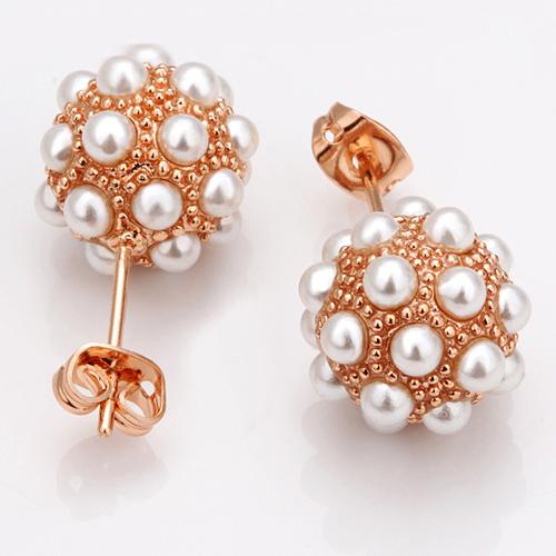 18KG E09174 Красиви дамски обици с перли, 18K розово златно покритие от колекция Zerga Brand