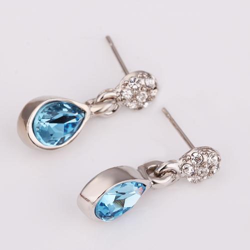 18KG E17099 Стилни дамски обици БЛУ СТОУН със Сваровски Кристали, Zerga Jewelry