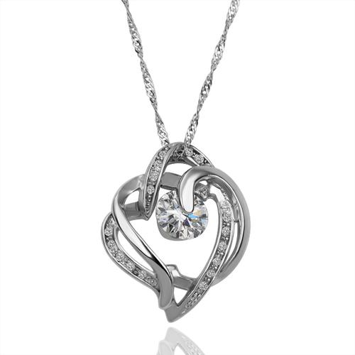 Колие КРИСТАЛНО СЪРЦЕ, бяло злато - Zerga Jewelry, Код:18KG N15296