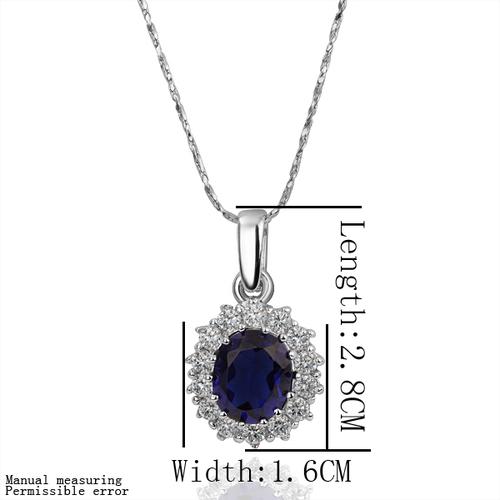 18KG N17690 Колие КЕЙТ, Zerga Collection - син кристал