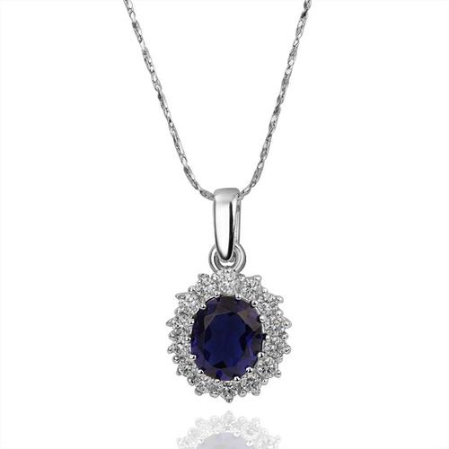 18KG S09821 Комплект бижута КЕЙТ. Колие, обици и пръстен от Zerga Jewelry, син камък