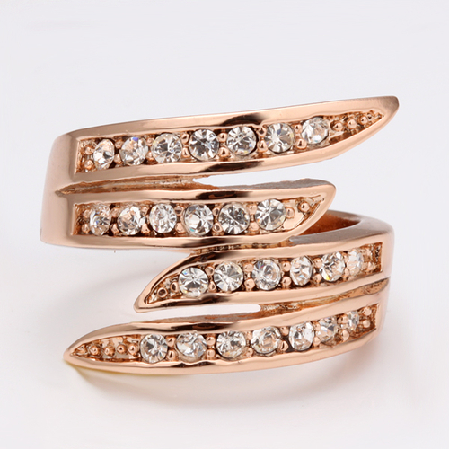 18KG R05017 Дамски пръстен Спирала от колекция Zerga Brand - розово златно покритие