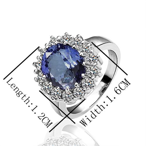 18KG R04237 Дамски пръстен КЕЙТ - Zerga Collection, син кристал