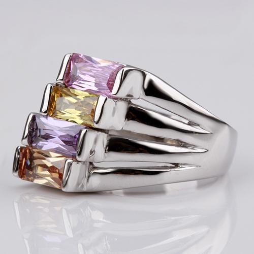 18KG R18073 Дамски пръстен  Разноцветни Камъни Swarovski Elements - Zerga Collection