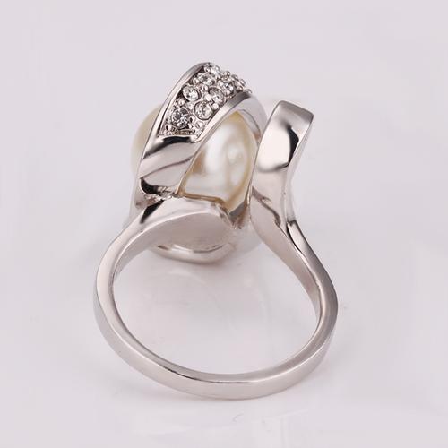 18KG R12578 Пръстен НЕЖНА ПЕРЛА! Zerga Jewelry, бяло златно покритие