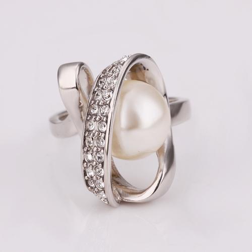 18KG S01600 Бижута НЕЖНА ПЕРЛА! Колие, обеци и пръстен от Zerga Collection - бяло златно покритие