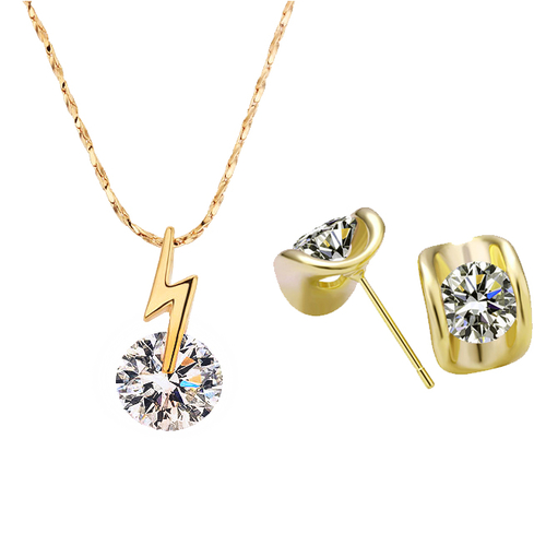 Дамски сет Колие и обеци НЕСТАНДАРТНО, жълто злато, колекция Zerga, 18KG S21018