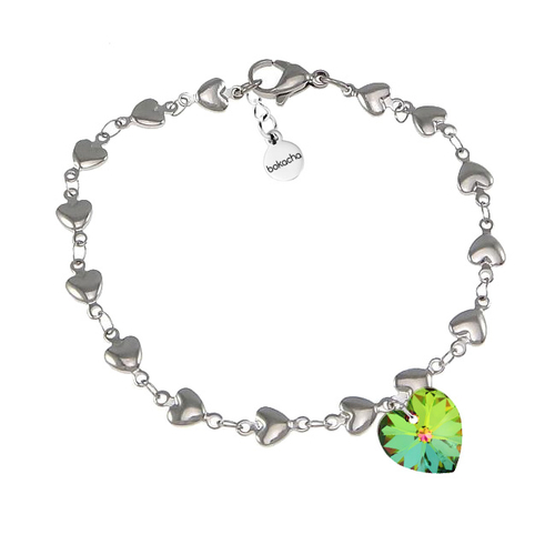 Гривна SWAROVSKI® HEART Vitrail Medium** VM, Зелен, 10 мм, Код PR B008