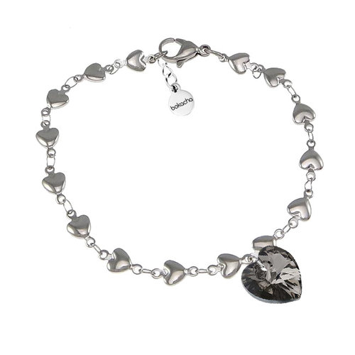 Гривна SWAROVSKI® HEART Silver Night** AB - Черен, 10 мм, Код PR B012