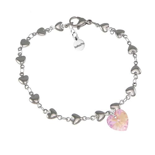 Бижута SWAROVSKI® HEART Light Rose AB - Розов, Колие,обеци и гривна (14, 10, 10 мм),  Код PR S009A