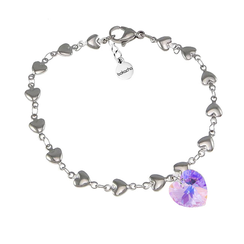 Гривна SWAROVSKI® HEART Violet AB - Светло лилав, 10 мм, Код PR B015