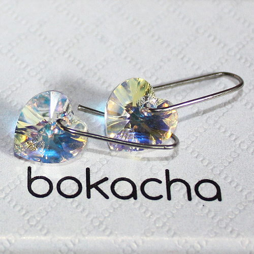 Обеци SWAROVSKI® HEART Crystal AB 10 мм, Бял цвят Код PR E001