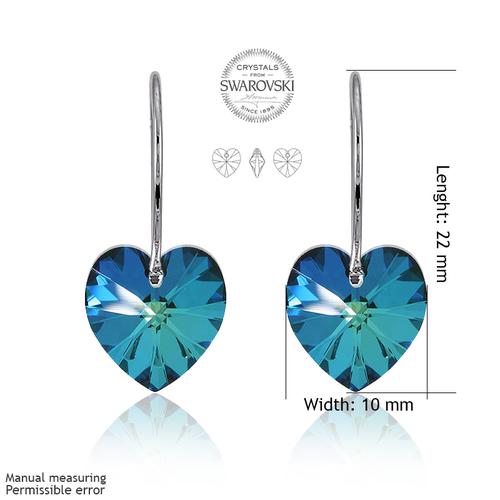 Обеци SWAROVSKI® HEART Bermuda Blue BBL 10 мм, Син цвят, Код PR E002