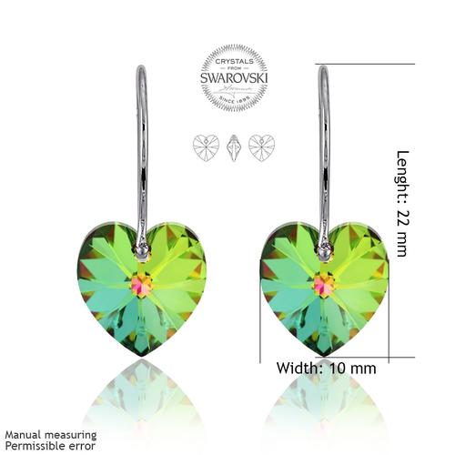 Бижута SWAROVSKI® HEART Vitrail Medium** VM, Зелен, Колие,обеци и гривна (14, 10, 10 мм),  Код PR S004A
