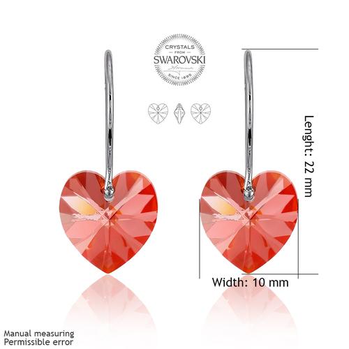 Бижута SWAROVSKI® HEART Light Siam АВ - Червен цвят, Колие и обеци (14 и 10 мм),  Код PR S005