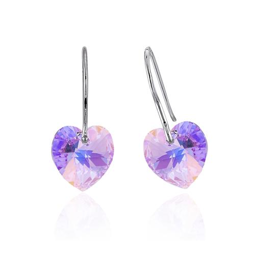 Обеци SWAROVSKI® HEART 10мм Violet AB - Светло лилав, Код PR E011
