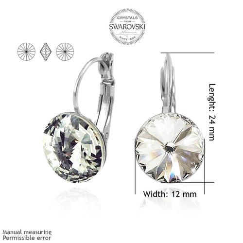 Обеци SWAROVSKI® RIVOLI 12мм Crystal AB, Бял цвят, Код PR E021