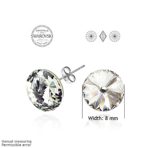 Обеци на винт SWAROVSKI® RIVOLI 8мм Crystal AB, Бял, Код PR E021A