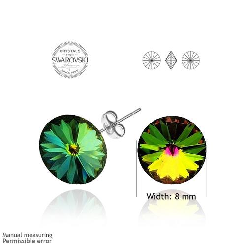 Бижута SWAROVSKI® RIVOLI Vitrail Medium** VM, Зелен цвят, Колие с обеци на винт (12мм и 8мм),  Код PR S024A