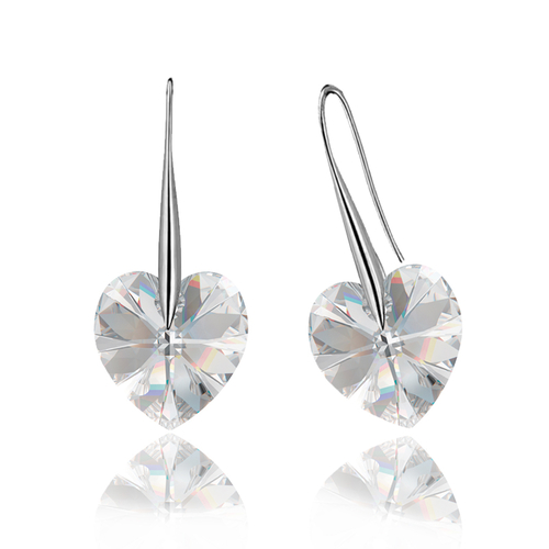 Обеци SWAROVSKI® BIG HEART Crystal AB 14 мм, Бял, Код PR E031