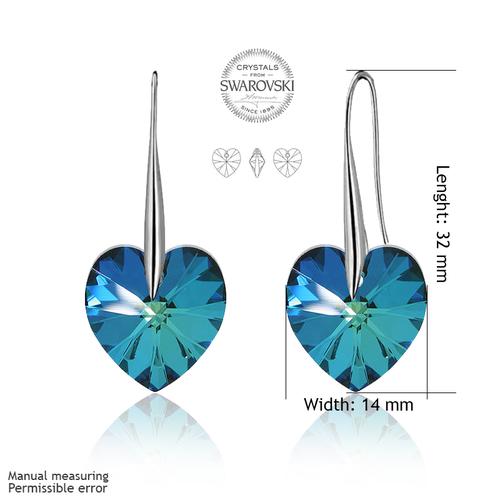 Обеци SWAROVSKI® BIG HEART Bermuda Blue BBL 14 мм, Син, Код PR E032