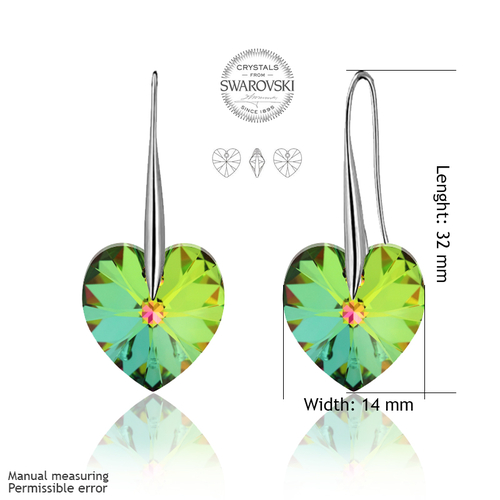 Обеци SWAROVSKI® BIG HEART Vitrail Medium** VM 14 мм, Зелен, Код PR E034