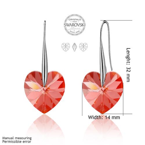 Бижута SWAROVSKI® BIG HEART Light Siam АВ - Червен цвят, Колие и обеци 14 мм,  Код PR S035
