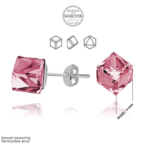 Обеци SWAROVSKI® CUBE 4мм Light Rose AB - Розов, Код PR E042