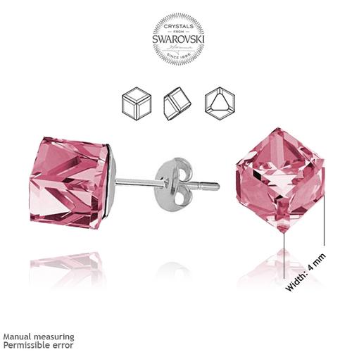 Бижута SWAROVSKI® CUBE Light Rose AB - Розов, Колие 8мм и Обеци 4мм,  Код PR S042