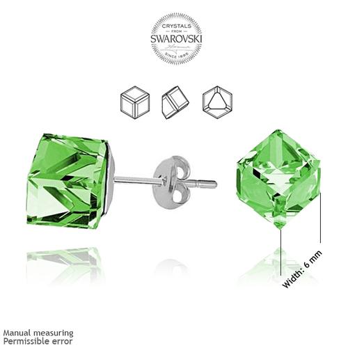 Обеци SWAROVSKI® CUBE 4мм Peridot - Зелен, Код PR E044