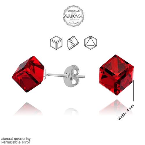 Обеци SWAROVSKI® CUBE 4мм Light Siam АВ - Червен цвят, Код PR E045