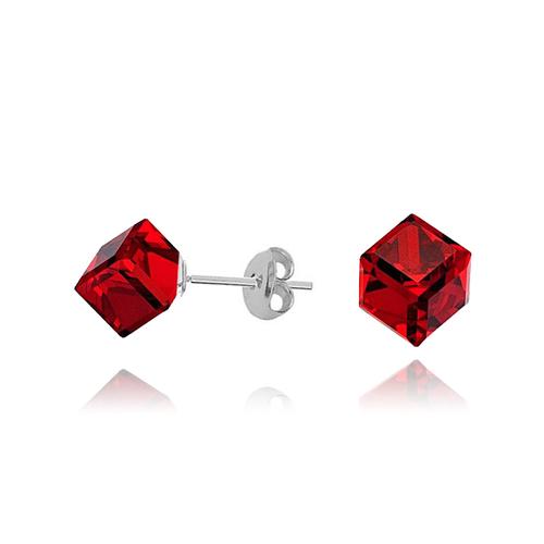 Бижута SWAROVSKI® CUBE Light Siam АВ - Червен цвят, Колие 8мм и Обеци 4мм,  Код PR S045