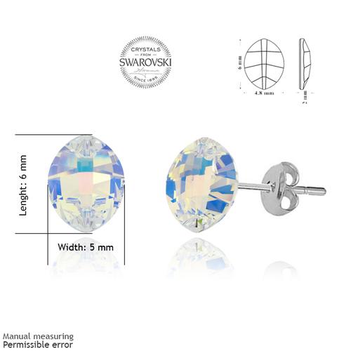 Обеци SWAROVSKI® LEAF 6мм Crystal AB, Бял, Код PR E051