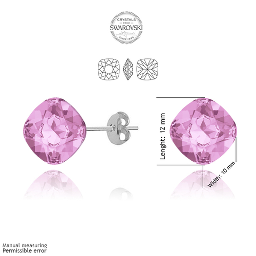 Обеци SWAROVSKI® TELESCOPIC S 10мм Light Rose AB - Розов, Код PR E073