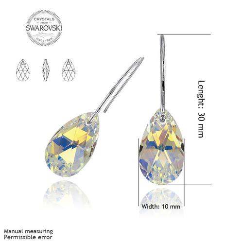 Обеци SWAROVSKI® PEAR DROP 16мм Crystal AB, Бял, Код PR E101