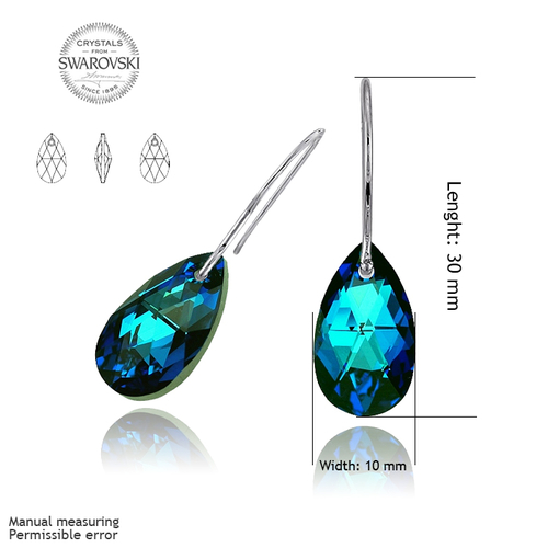 Обеци SWAROVSKI® PEAR DROP 16мм Bermuda Blue BBL, Син, Код PR E102