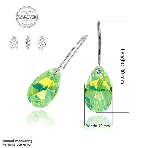 Обеци SWAROVSKI® PEAR DROP 16мм  Peridot - Зелен, Код PR E106