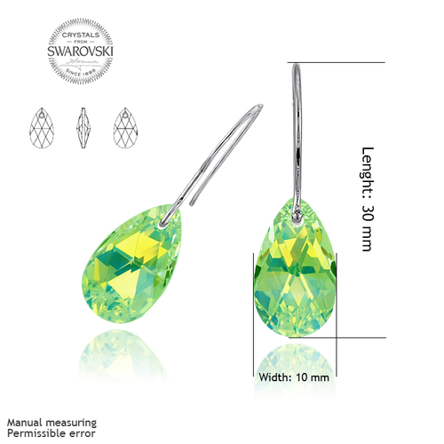 Бижута SWAROVSKI® PEAR DROP Peridot - Зелен, Колие и Обеци, 16мм, Код PR S106