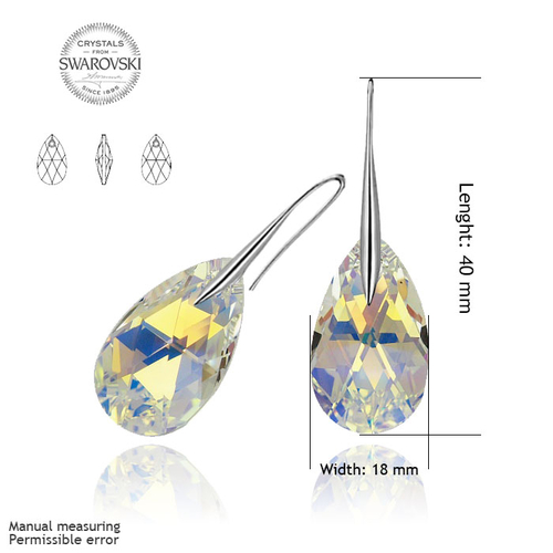 Обеци SWAROVSKI® BIG PEAR DROP 22мм Crystal AB, Бял, Код PR E111