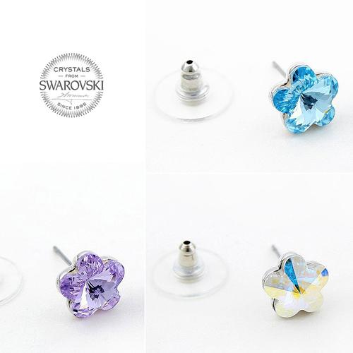 Бижута SWAROVSKI® FLORAL Crystal AB, Бял, Колие с обеци,  Код PR S119